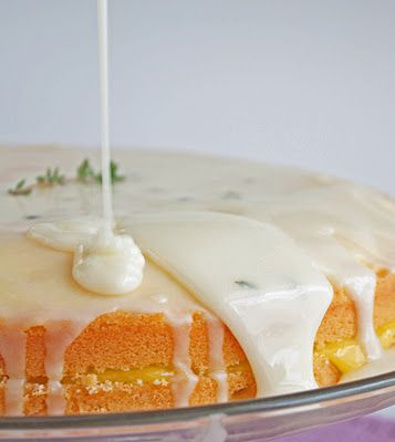 Limoncello Pound Cake w/ Meyer Lemon Curd Filling & Goat Cheese, Thyme and Limoncello Icing - I Breathe... I'm Hungry...