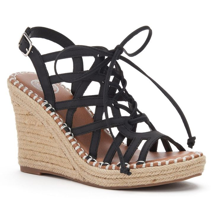 SO® Women's Lace-Up Espadrille Wedge Sandals, Size: 8.5, Black