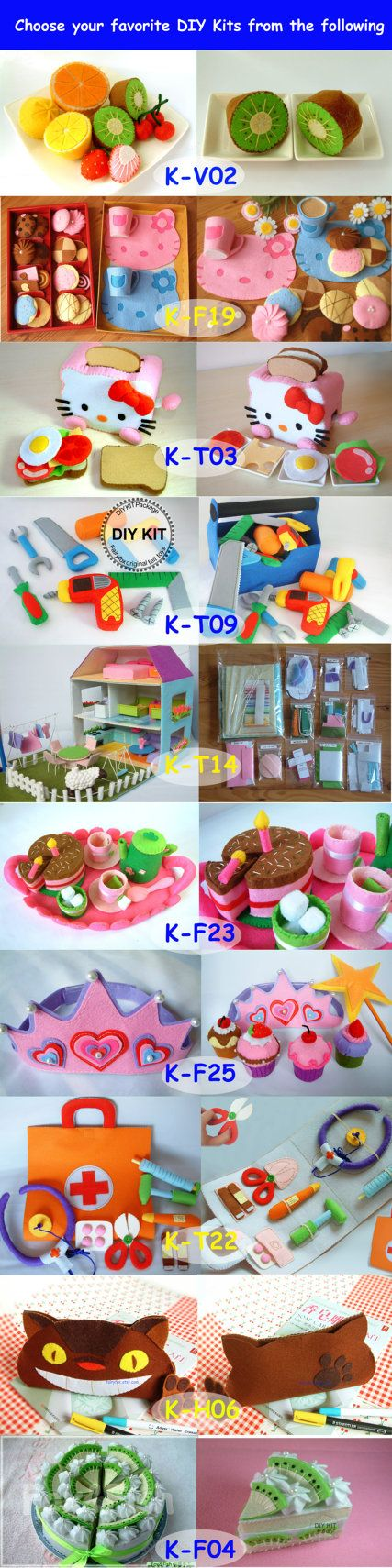 Felt food, toys, crafts, 120 USD For 10 felt DIY kit package,Pre-cut,  Free shipping by EMS, limited time sales
