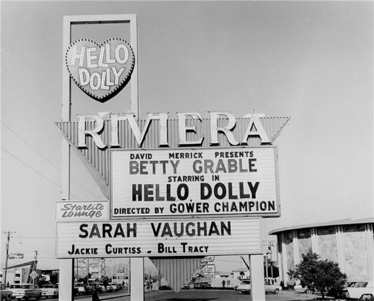 Marquee at the Riviera Hotel. Las Vegas, 1966