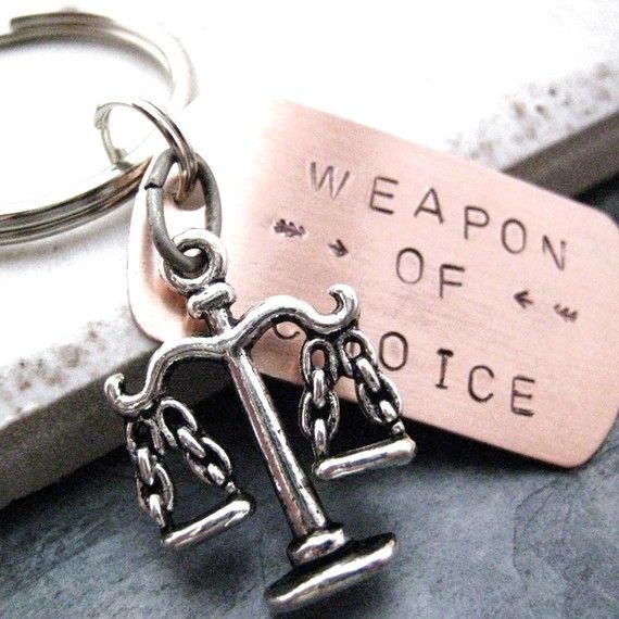 SCALES OF JUSTICE Weapon of Choice Stamped Keychain, alt charms available, great gift for the lawyer, attorney on Etsy, $14.95