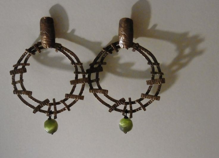 Oro e.. (Elisabetta Manetti) Copper glass and silver earrings (Acacia collection)
