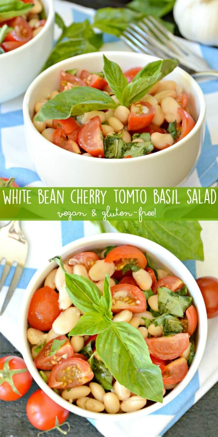 White beans, cherry tomatoes, and basil combine together in this simple summer salad. Try it with some crusty bread for a delicious light meal. (vegan and gluten-free) via @VeggiesSave