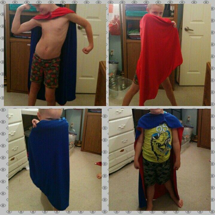 Diy  sewn super hero cape. Red and Blue kids capes.