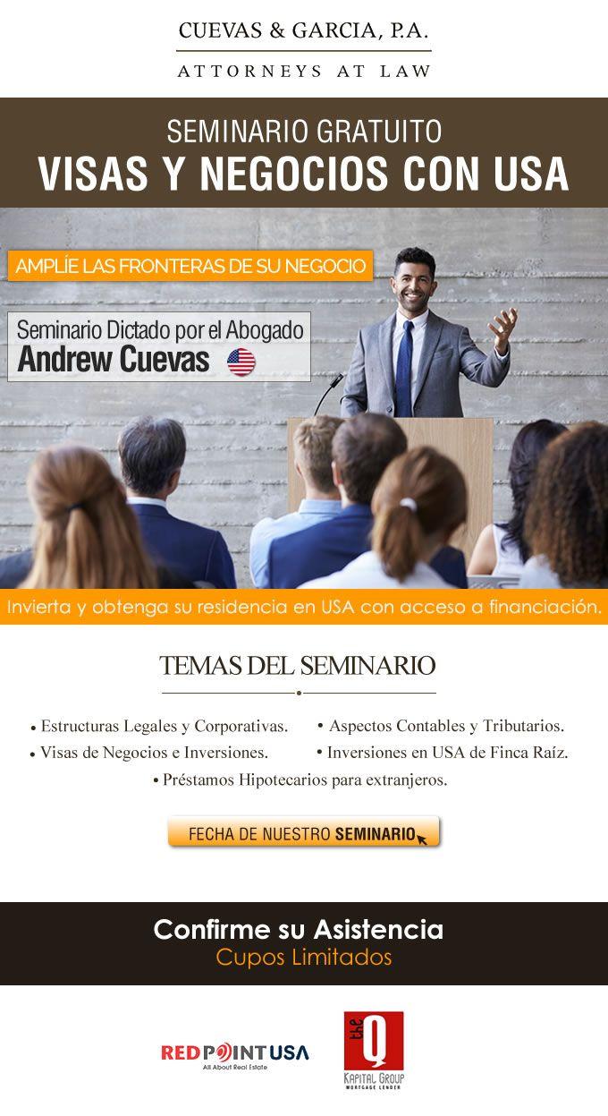 #NOVOCLICK esta con #Cuevas&Garcias #SeminarioGratuito #Visas y negocios con USA