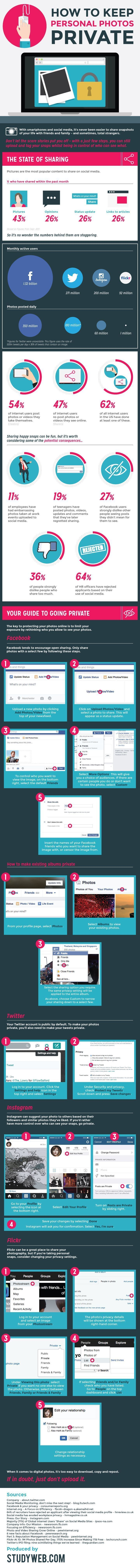 How to Change Photo Privacy Settings on Facebook, Twitter and Other Popular Social Networking Sites - #InfographicWith smartphones and social media, it's never been easier to share snapshots of your life with friends and family – and sometimes, total strangers.  Don't let the scare stories put you off – with a just few steps, you can still upload and tag your snaps whilst being in control of who can see what.