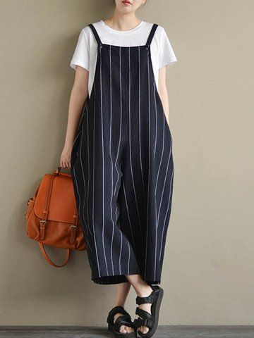 f0220c251da1 Designer Vintage Loose Stripe Sleeveless Pockets Rompers For Women - NewChic  Mobile