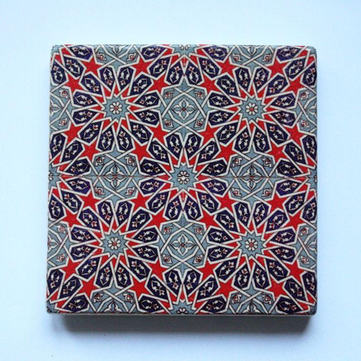 Turkish Ottoman Tile Design Stone Coaster