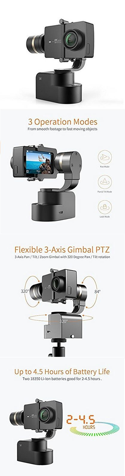 YI Gimbal 3-Axis Handheld Stabilizer for Yi Lite, 4K, 4K+ and other Action Cameras (Gimbal Only) #gimbal #action #batteries #charger #videos #mountain #stick #mount #screw #firmware #cam #gopro #biking #gimbals #stable #footage #pro #video #fashion #style #shopping #usb #electronic #SmartWatch   #gifts
