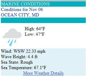 Ocean City MD Weather Forecast for Thursday, Nov 6, 2014 - Whole lotta rain'll be coming down! #ocmd