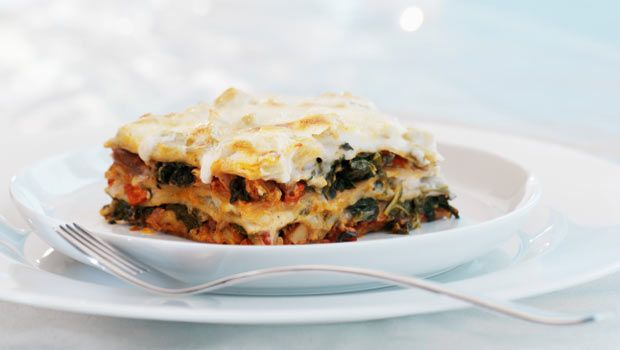 Devin Alexander's Three Cheese Spinach Lasagna- Good option for Emily's Healthy Eating Plan