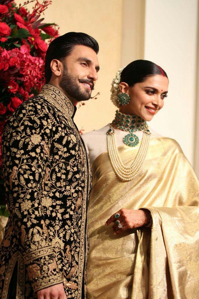 Deepika Padukone and Ranveer Singh at their reception in ...