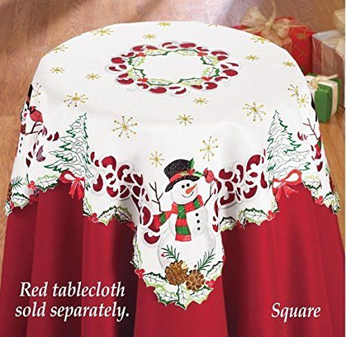 Snowman Embroidered Cardinal Table Linen Square Christmas