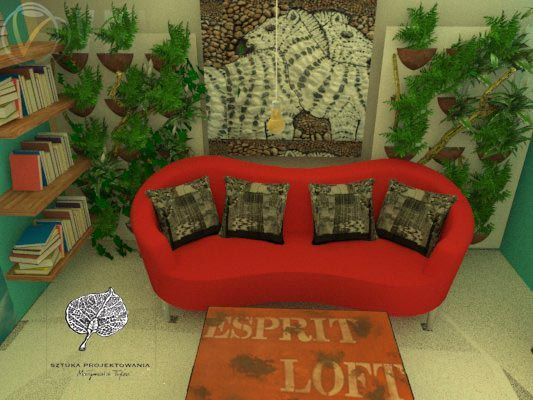 salon, zielona ściana projekt m.tylec@autograf.pl