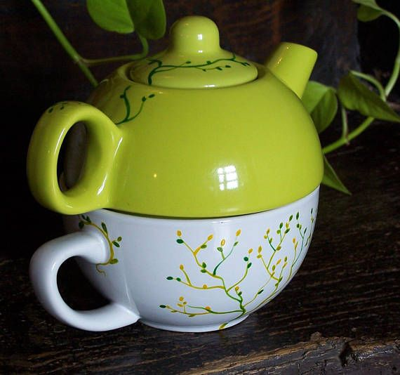 Teapot Cup Individual Two In One Hand Painted And Customizable