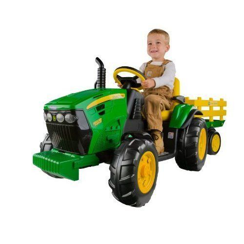 Powered Electric Tractor Kids 12V Toys Ground Force with Trailer 2 Speeds New #PoweredElectricTractorKids12V