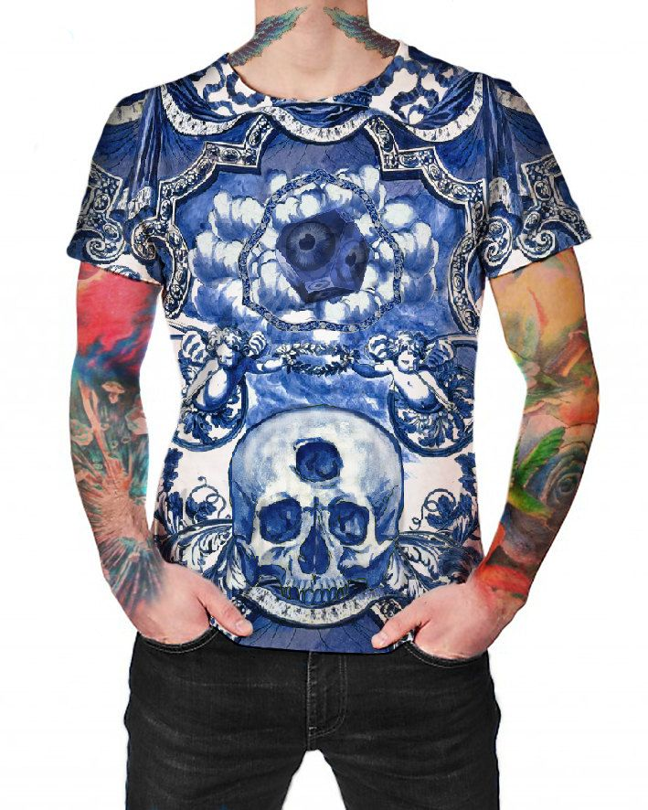 Blue Ceramic Dreams  - T-shirt - Full print Shirt by ArtefactoStore on Etsy