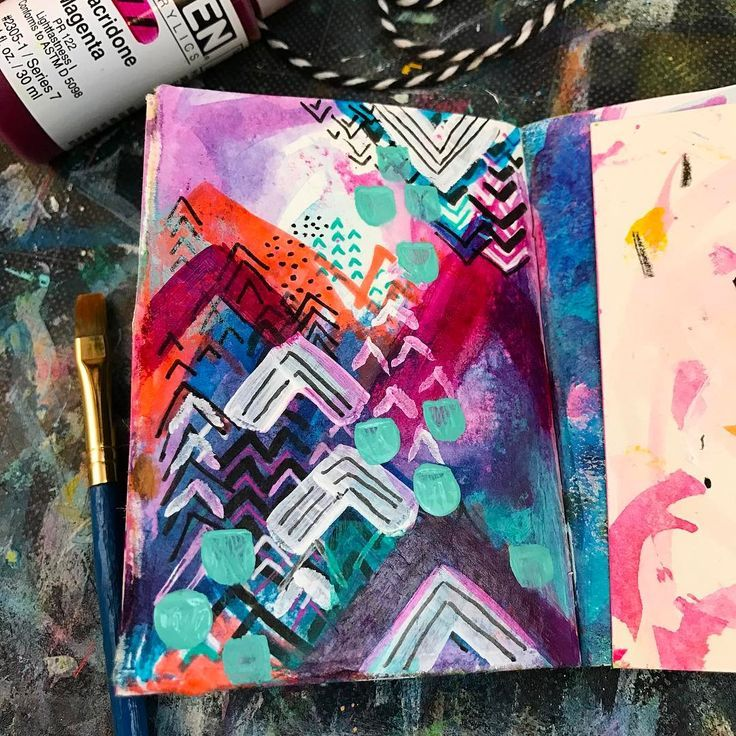 Christine Fetter - Today's artmarks30daychallenge prompt is chevron ️️ lots of Chevron layers and experimenting with color.
