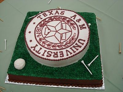This is the cake.  Clay wants a gold theme and he loves TAMU.  Perfect!!!!