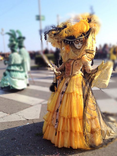Venice Carnival Costumes | Woman in Yellow Venetian Carnival Costumes at Nice | Flickr - Photo ...