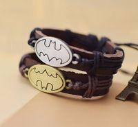 Мода браслет ювелирные изделия Унисекс Мужские Фильм Бэтмен Дизайн DIY кожаные браслеты Женские браслет-манжета DC Мультфильмы