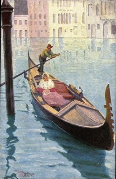 Artist Postcard Rave, Chr. -  Venezianische Gondel