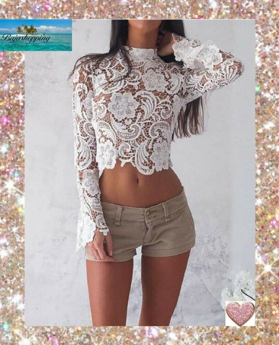 5cf4f300356 Woman's Modern Lace Crop Top Long Sleeve Sheer Lace Top-White ♡ in ...