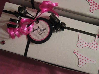Party favors: a cute box with a lingerie wash bag and Lingerie detergent inside!