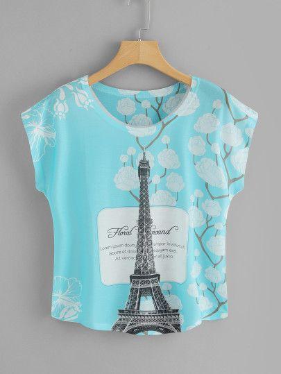 504b24cc78 Eiffel Tower Print Tee in 2019 | Romwe | Online fashion stores, Tee ...