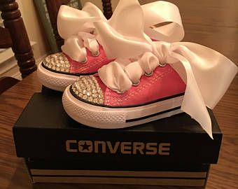 Items similar to Customised baby Converse Pink/white or Navy Encrusted Gems/Jewels Ribbon Converse Size1 :2 soft bottom crib Bespoke Custom on Etsy