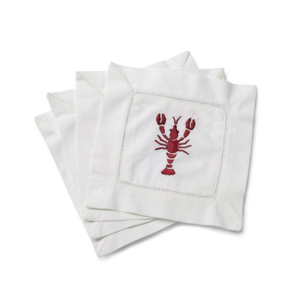 Red Lobster Cocktail Napkin Beautifully embroidered, large sea life on 100% cotton. Classic hemstiched border completes the design of these cocktail napkins. Pearl Nautilus, Crab, Sand Dollar, Coral Designs.  | | Lip Service Napkins | | cheers to story telling, laugh-sharing & memory-making - Shop Retreat Napkins  Dinner Party | Wedding | Event | Vacation | Relax | Host | Planning | Table Setting | Entertaining