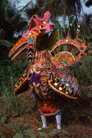 África | Un hombre Temne lleva el traje del pájaro hechicero en Sierra Leona