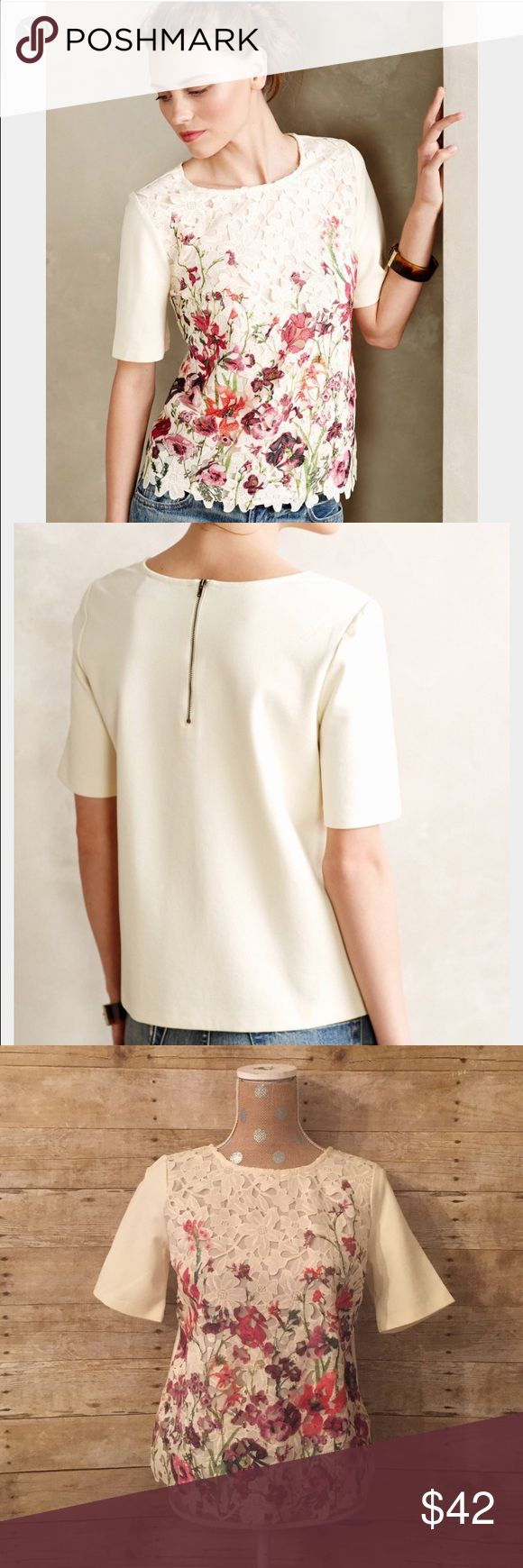 Anthropologie Sunday in Brooklyn Canna Lace Tee Anthropologie Canna Lace Tee by Sunday in Brooklyn Size Small, excellent like new condition Zipper back Pullover styling Polyester, rayon, spandex Original price: $88 Anthropologie Tops