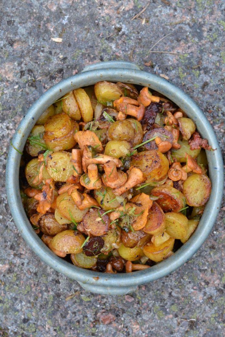 Lämmin kanttarelli-perunasalaatti