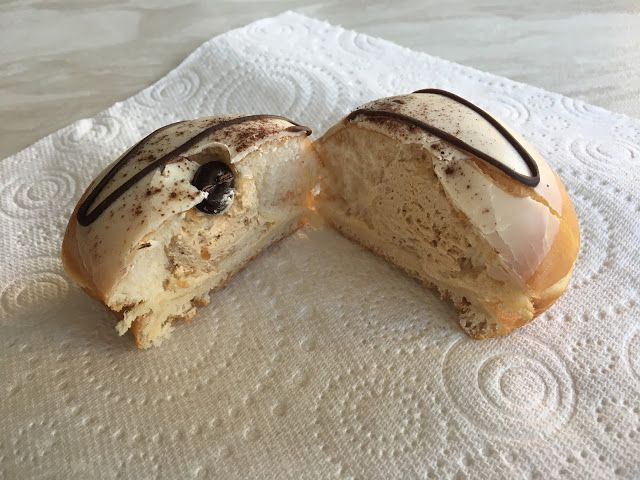 Krispy Kreme U.K.  NEW: Tiramisu...Filled with coffee flavour kreme, covered in white chocolate flavour coating - CONTAINS NUTS.
