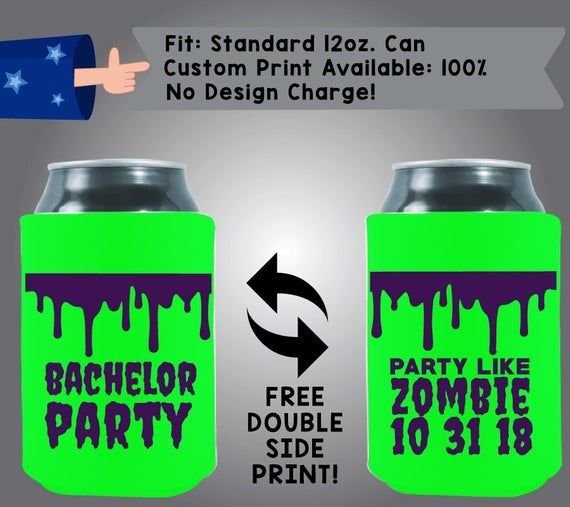 Warning Bachelor Party in Progress Hard Foam Can Cooler Double Side Print HF-Bach01