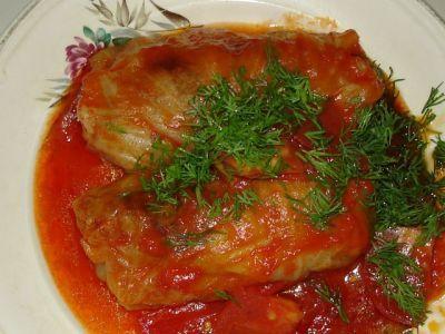 Голубцы мясо-рисовые в томатном соусе