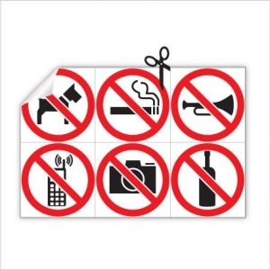 Наклейка выгул собак запрещен, не курить, не фотографировать, не пользуйтесь телефоном, не шуметь