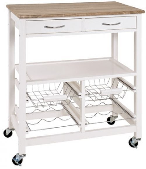 White Kitchen Cart W/ 2 Drawers Trolley Portable Storage Table Wine Bottle  Rack