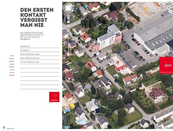 21 Inspiring Contact Pages. Use of photoshopped satellite image for map, simple form of lines