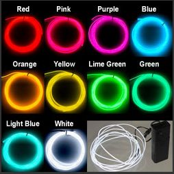 "Neon Glowing Strobing EL Wire 9-Foot Kit Electroluminescent Tron    Buy El Wire and use it to write ""Happy Birthday""."