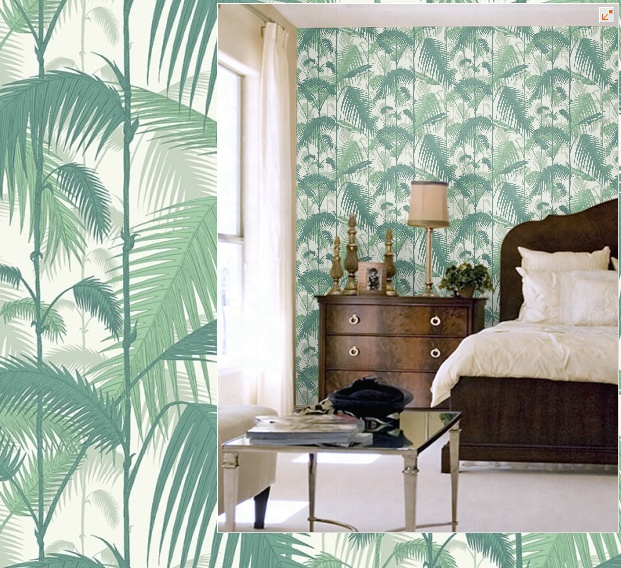 Palm tree wallpaper Palm leaves wall decor Removable