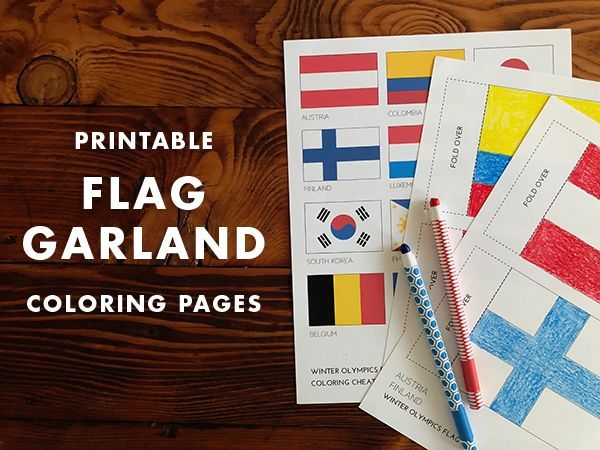 Printable DIY Flag Garland | Winter Olympics Activities for Kids | Olympic Watch Party Ideas