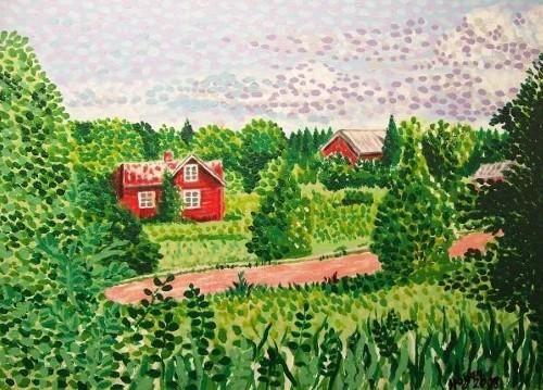 'Åland Landscape' print @fineartamerica #Finland #åland #mariehamn #landscapepaintings #artist #green #finnish #house #woodenhouse #nature #rurallandscape #island #trees #paintings #taide #konst