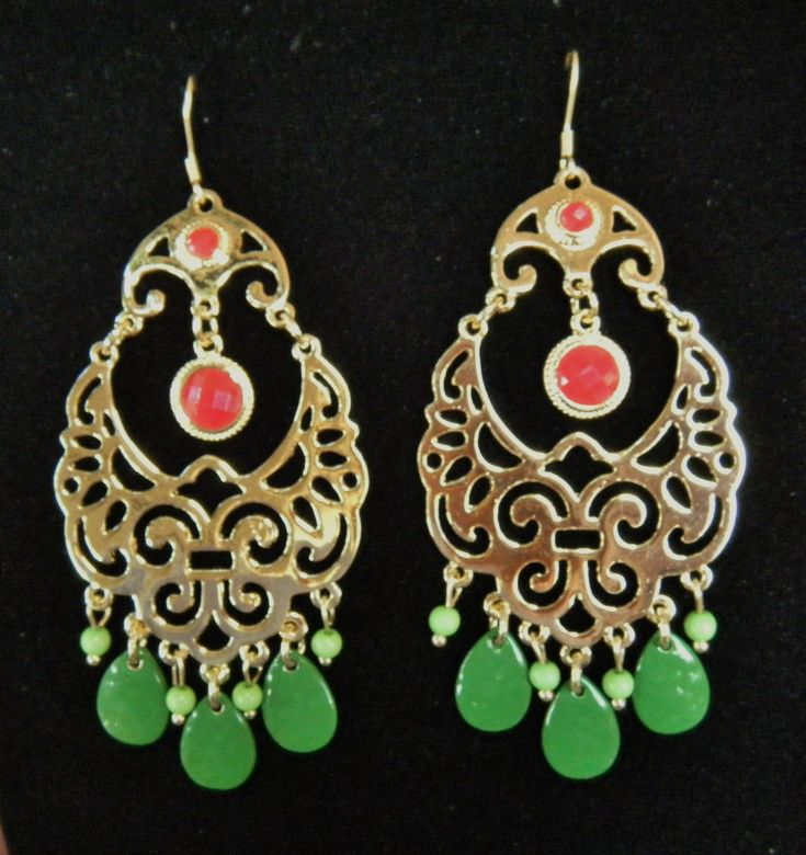 Green Fashion Dangle Women Ladies Floral Gypsy Style Earrings Red Stone #earrings #fashionjewelry #fashion #trendyfashion #gypsyearrings #danglingearrings