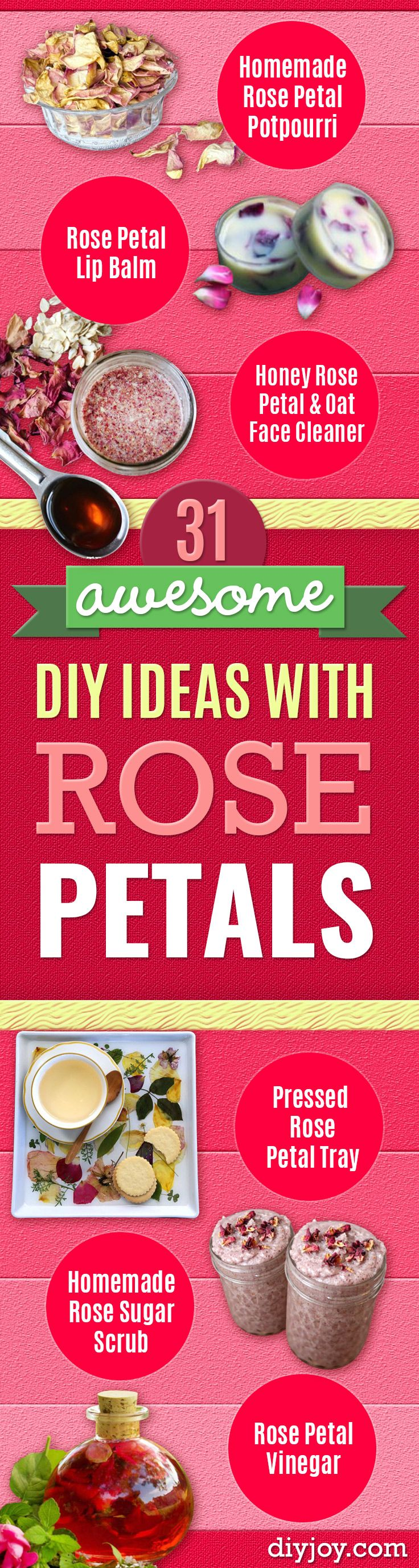 DIY Ideas With Rose Petals - Crafts and DIY Projects, Recipes You Can Make With Rose Petals - Creative Home Decor and Gift Ideas Make Awesome Mothers Day and Christmas Gifts - Crafts and Do It Yourself by DIY JOY http://diyjoy.com/diy-ideas-rose-petals