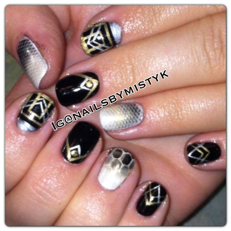 Shellac nail art. Fall nail art. Cnd shellac additives. Black gold and