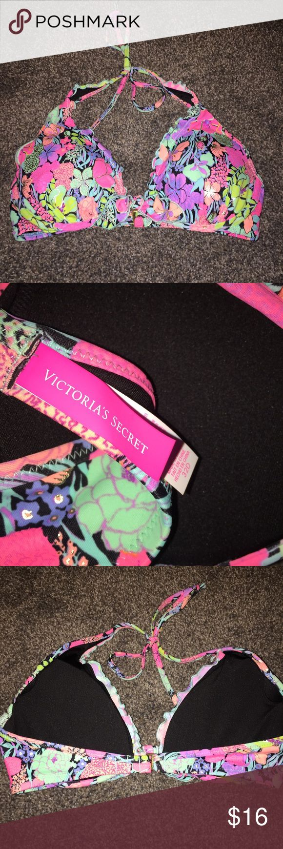 Victoria's Secret floral bikini top Victoria's Secret bright pink colorful floral printed bikini top, halter style size 32D. never worn, in perfect condition *feel free to use the offer button, every purchase comes with a free surprise gift :) Victoria's Secret Swim Bikinis