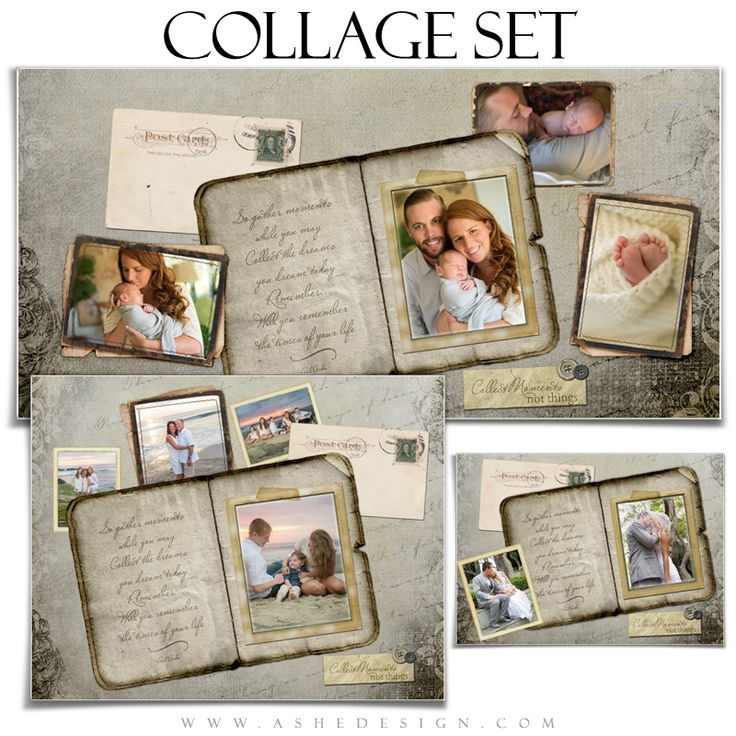 "Ashe Design templates make designing custom collages easy! Use our new ""Collect Moments"" Amped Photoshop Collage Template Set to design beautiful collage prints for all families. It's a great way to display all family members. This set includes the following print sizes: 5x7, 11x14 and 10x20"