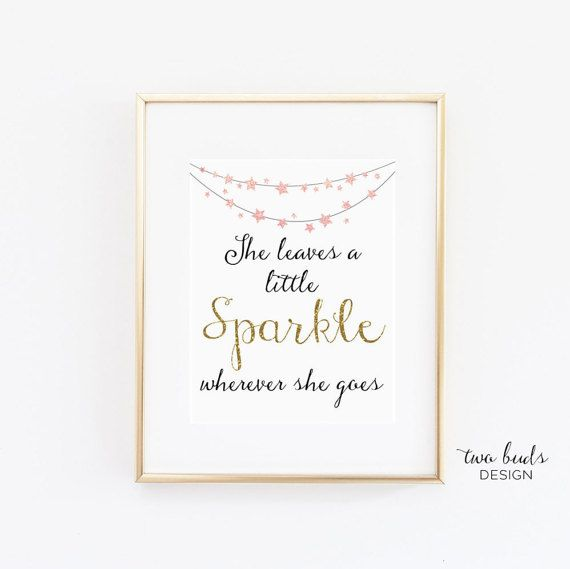 Printable Wall Art, She Leaves a Little Sparkle Wherever She Goes Quote, Inspiration, Decor, Homewares, Digital, Downloadable